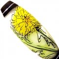 Dandelions on White, glass focal bead