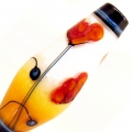 Poppies on Orange Fade- encased taper, glass focal bead