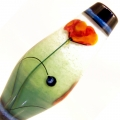 Poppies on Soft Moss Teal Fade- encased taper, glass focal bead