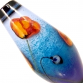 Poppies on Blue Purple Fade- encased taper, glass focal bead