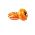 Pinstripe Copper Core Big Hole Bead, Orange Red