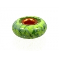 Big Hole Copper Core Brushstroke Bead, Forest Green
